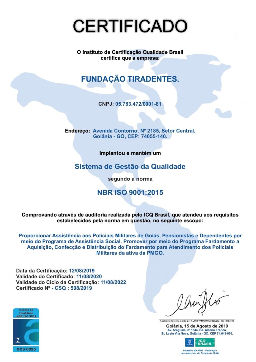 Certificado ISO 9001:2015 Fundação Tiradentes